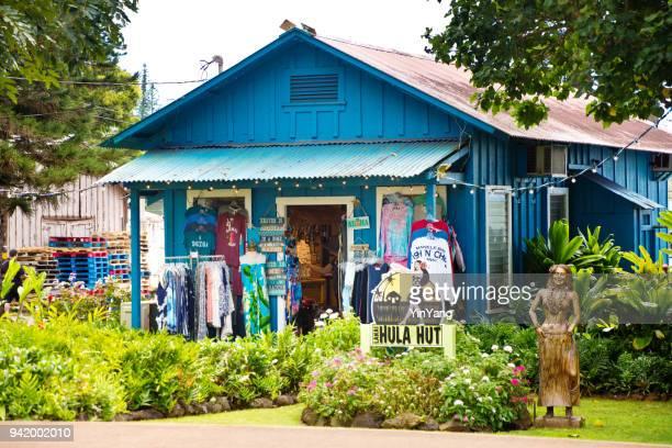 clothing, tourists supplies and souvenir shop  in lanai city of lanai island of hawaii - lanai stock photos and pictures