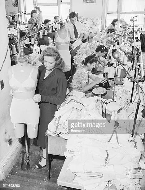 Clothing workers return to making girdles and brassieres at Flexes in the garment district of New York City at the end of World War II