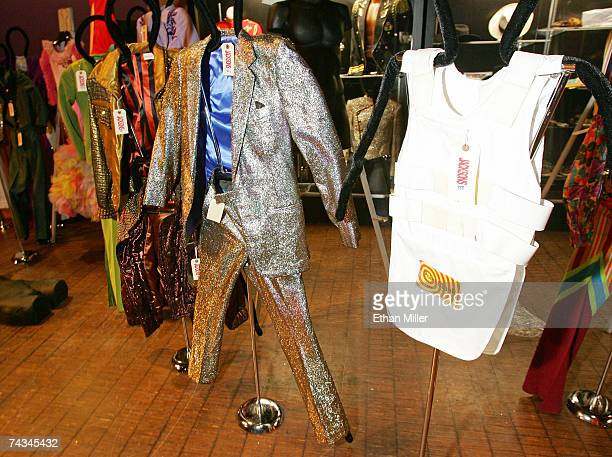 Clothing worn by the Jackson family including Michael Jackson's bullet proof vest hangs on display at The Joint music venue inside the Hard Rock...