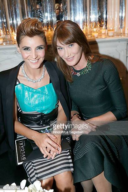 Clotilde Courau and Carla Bruni attend the Bulgari Cocktail Event At Apicius as part of Paris Fashion Week at Apicius on July 8, 2014 in Paris,...