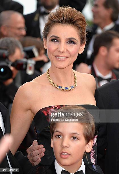 Clotilde Courau and Enzo Tomasini attend the How To Train Your Dragon 2 premiere during the 67th Annual Cannes Film Festival on May 16 2014 in Cannes...