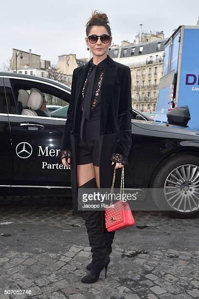 Clotilde Courau arrives at the Elie Saab fashion show Paris Fashion Week Haute Couture Spring/Summer 2016 on January 27 2016 in Paris France
