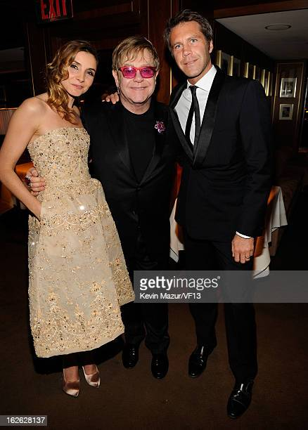 Clotilde Coureau de Savoie, Elton John, Prince Victor Emmanuel de Savoie attend the 2013 Vanity Fair Oscar Party hosted by Graydon Carter at Sunset...