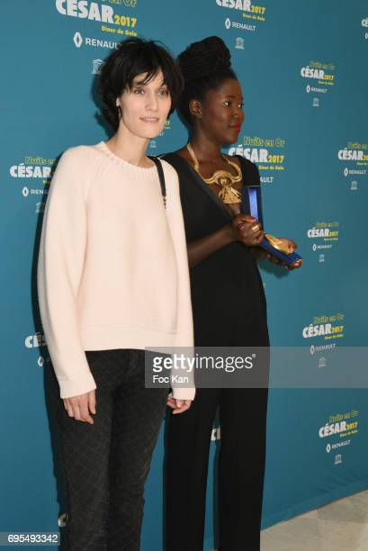Clotilde Hesme and Alice Diop attend 'Les Nuits en Or 2017' Dinner Gala Photocall at UNESCO on June 12 2017 in Paris France