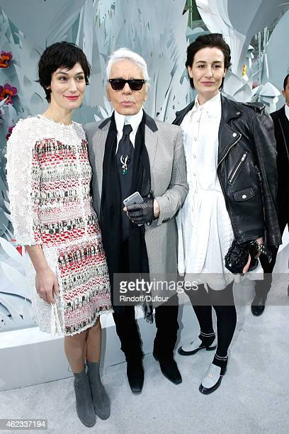 Clotilde Hesme Fashion Designer Karl Lagerfeld and Erin O'Connor pose after the Chanel show as part of Paris Fashion Week Haute Couture Spring/Summer...