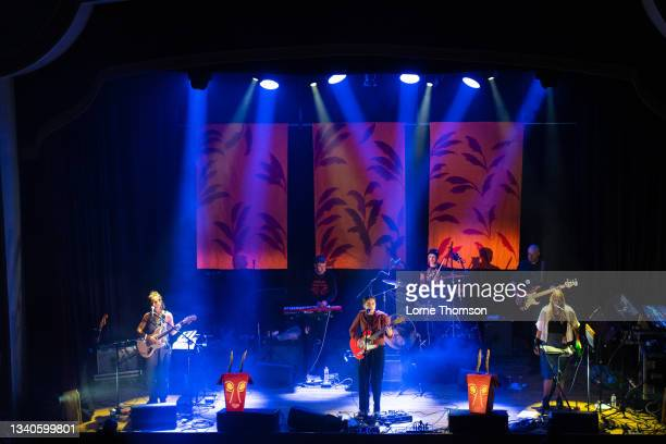Clottie Cream, Rosy Bones and Holly Mullineaux of Goat Girl perform at Islington Assembly Hall on September 15, 2021 in London, England.