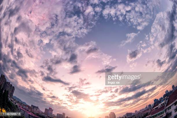 cloud above the fisheye lens in hangzhou - hdri 360 ストックフォトと画像