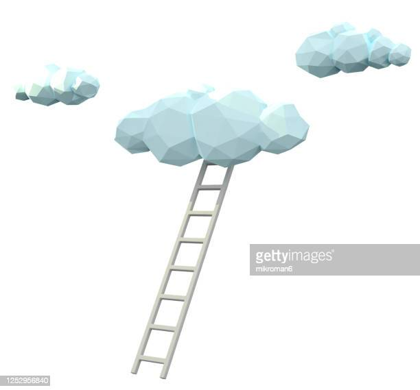 cloud and ladder - 3d concept - white background stock pictures, royalty-free photos & images