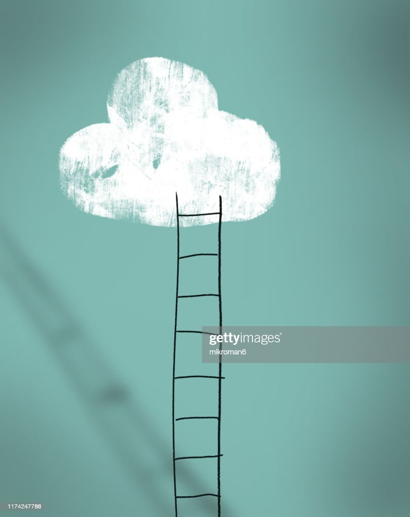 Cloud and ladder - achieving dreams concept : Stock Photo