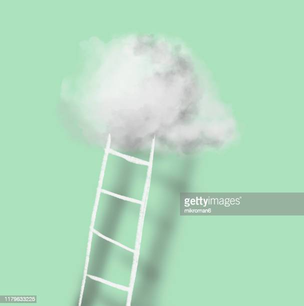 cloud and ladder - achieving dreams concept - high up stock pictures, royalty-free photos & images