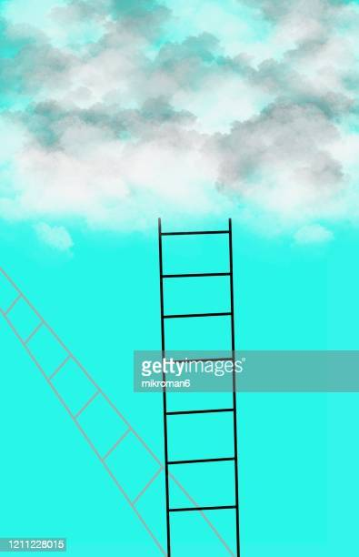 cloud and ladder - achieving dreams concept - aspirations stock pictures, royalty-free photos & images