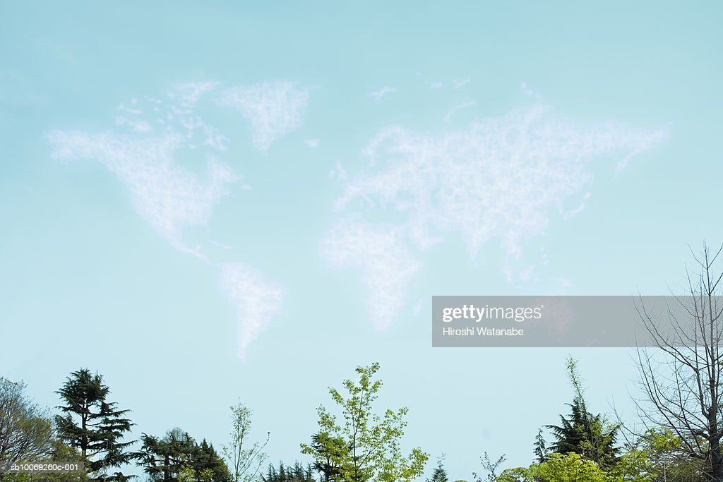 Cloud and spring trees forming world map (digital composite) : Stockfoto