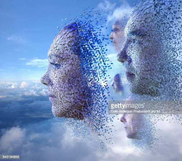 cloud blocks forming faces in sky - compuesto digital fotografías e imágenes de stock