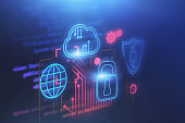 Cloud computer and cyber security background