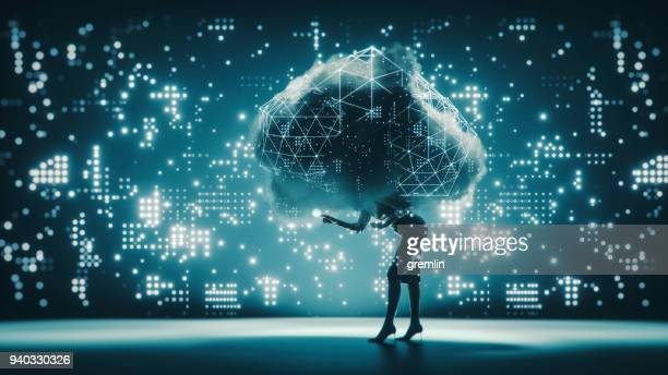 cloud computing businesswoman conceptual image - cloud computing stock photos and pictures