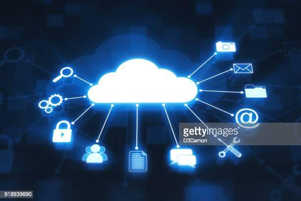 conceito de computação nuvem em display digital - nuvem - fotografias e filmes do acervo