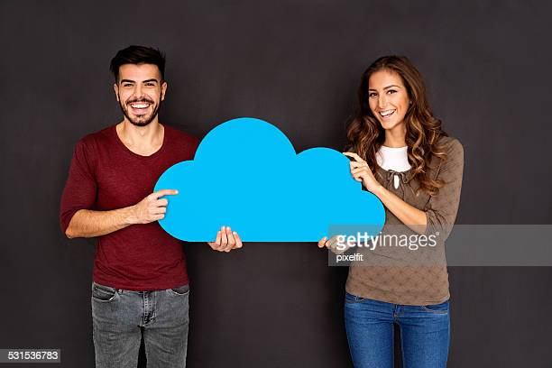 Cloud computing concept with man and woman