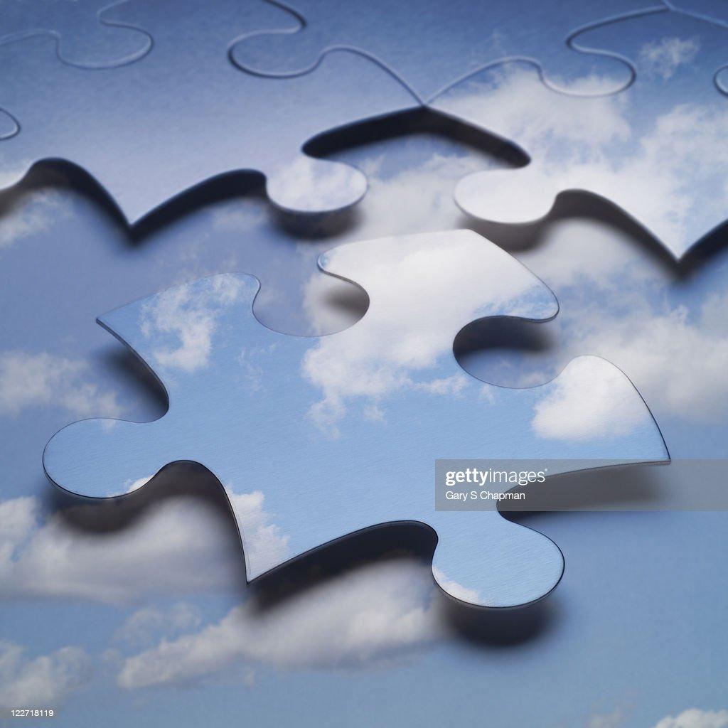 Cloud computing or storage puzzle : Stock Photo