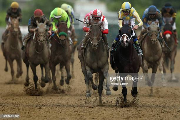 Cloud Computing ridden by Javier Castellano beats Classic Empire ridden by Julien Leparoux to win the 142nd running of the Preakness Stakes at...