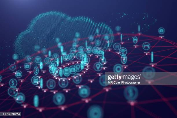 cloud computing technology and internet of things concept,big data and connection technology - financial technology stock pictures, royalty-free photos & images