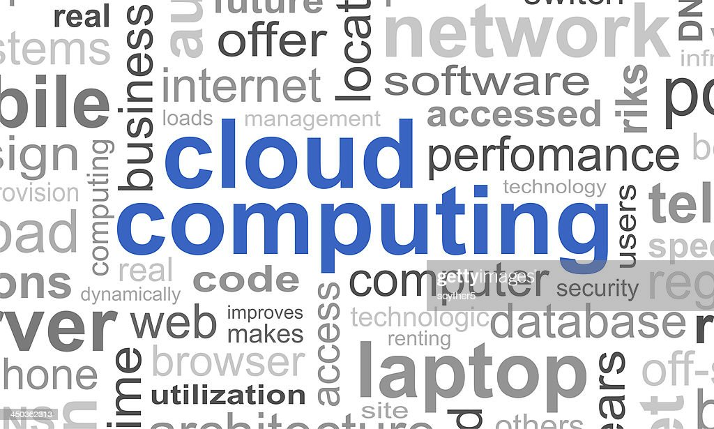 cloud computing typographic template background stock photo getty