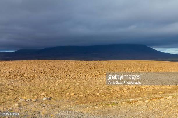 Cloud covered peak on a lunar landscape, Iceland