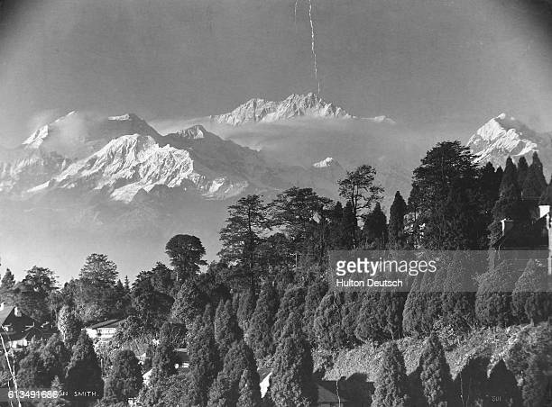 Cloud encircles the snowcapped peaks of Kangchenjunga Mountain which rise beyond a forested hillside