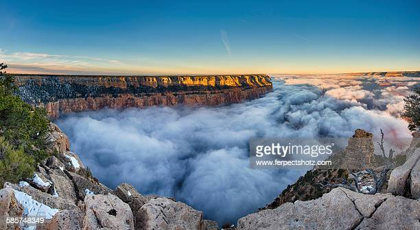 Cloud filled Grand Canyon at sunrise