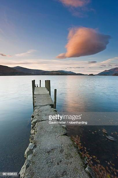 cloud formation and wooden jetty at barrow bay landing, derwent water, lake district national park, cumbria, england, united kingdom, europe - gavin hellier stock pictures, royalty-free photos & images