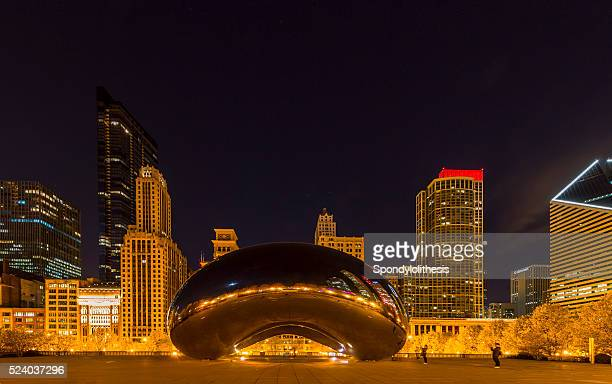 cloud gate at night - cloud gate stock photos and pictures