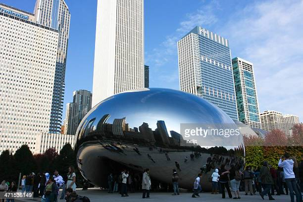 cloud gate bean and chicago skyline - cloud gate stock photos and pictures