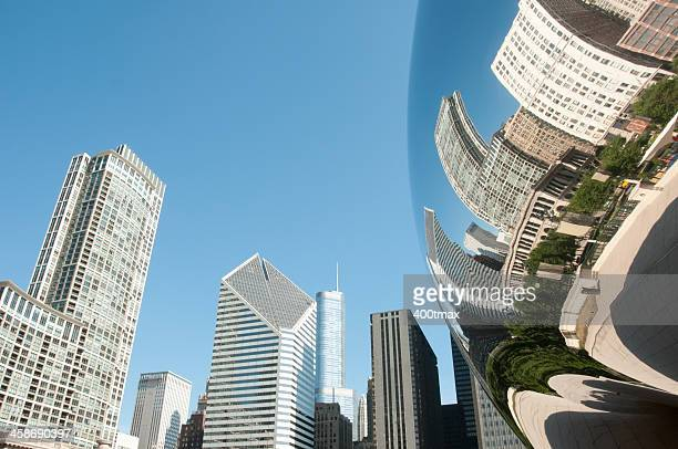 cloud gate sculpture skyline reflection - jay pritzker pavillion stock photos and pictures