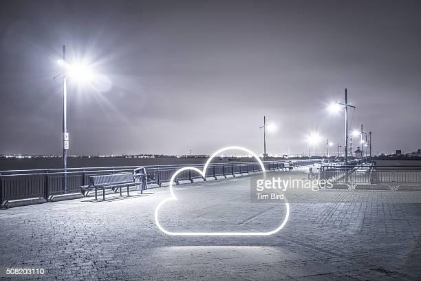 Cloud icon in night scene