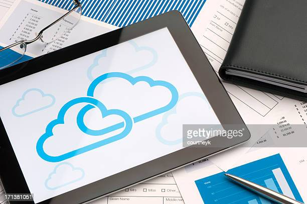 Cloud icon on a digital tablet