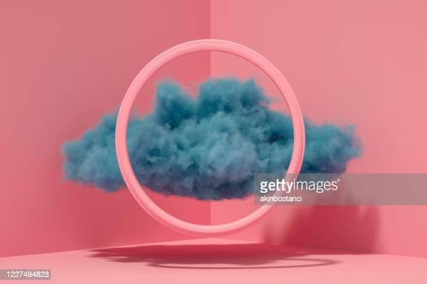 nuvem em canto interno com quadro - tridimensional - fotografias e filmes do acervo