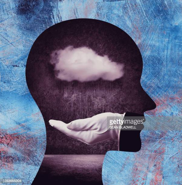 cloud inside head - depression sadness stock pictures, royalty-free photos & images