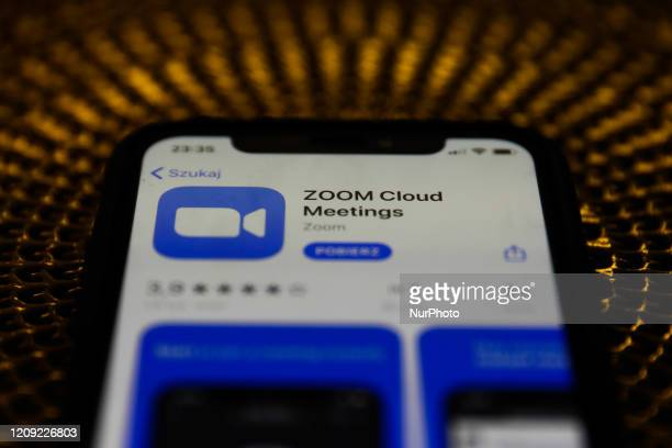 Cloud Meetings app is seen displayed on phone screen in this illustration photo taken in Poland on April 6, 2020.