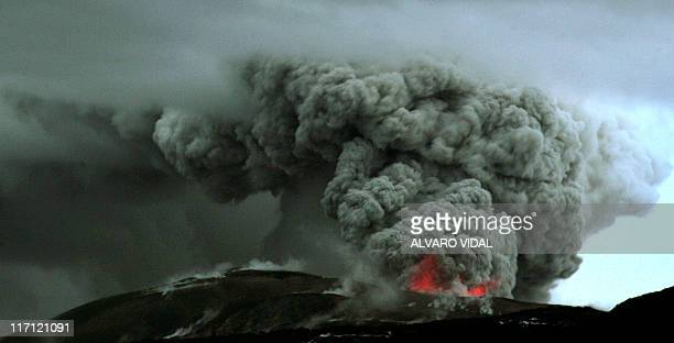 A cloud of ashes billows from the Puyehue volcano near Osorno 870 km south of Santiago on June 17 2011 The ash cloud from a Chilean volcano that...