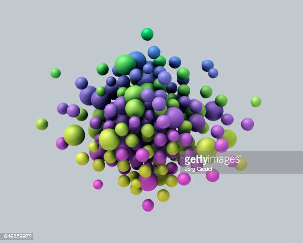 A cloud of multicolored floating spheres