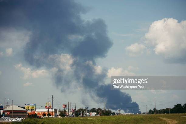 A cloud of smoke appeared after an explosion from the Arkema Inc plant in Crosby Texas on September 3 2017 John Taggart for The Washington Post via...