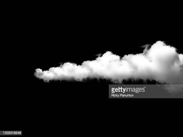 cloud on black background - wolkengebilde stock-fotos und bilder
