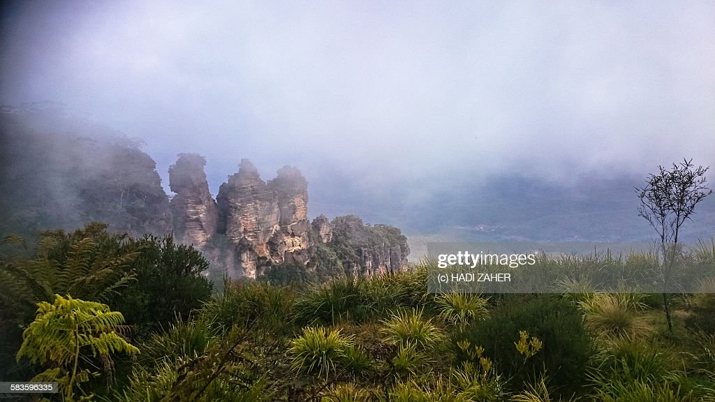 Cloud over the Three Sisters : Stock Photo