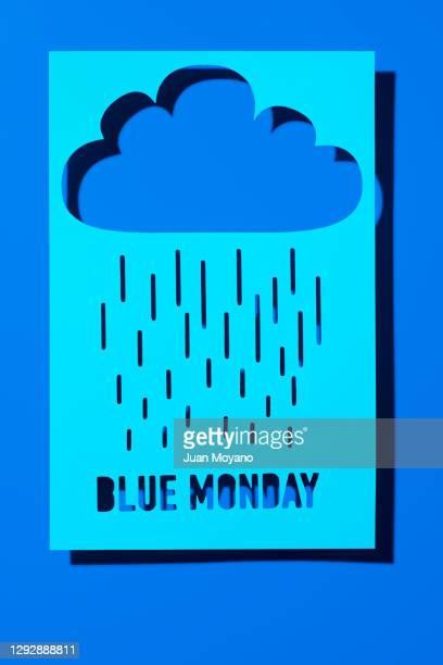 cloud, rain and text blue monday - blue monday foto e immagini stock
