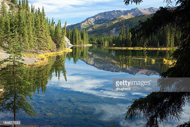 Cloud reflections in Horseshoe Lake in Alaska