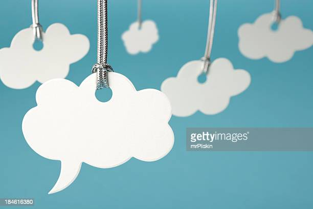 cloud shaped speech bubble - thought bubble stock pictures, royalty-free photos & images