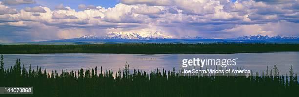 Cloud shrouded mountains in WrangellSt Elias National Part Alaska