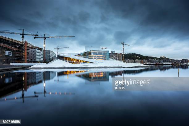 Cloud storm in morning and reflection of Den Norske Opera and Ballet, Oslo, Norway