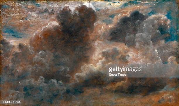 Cloud Study Study of Cumulus Clouds label affixed to stretcher 'Augt 1 1822 II O clock AM very hot with large climbing clouds under the sun Wind...