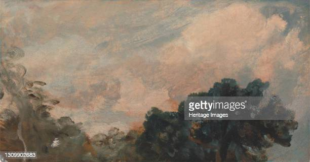 Cloud Study with Trees;Study of Clouds and Trees, 1821. Artist John Constable. .