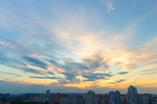 Cloud sunset sky above Kiev (Pozniaky district) - gettyimageskorea